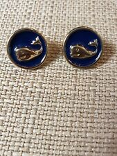 """enamel goldtone whale earrings 1/2"""" diameter excellent preowned FREE SHIPPING!"""