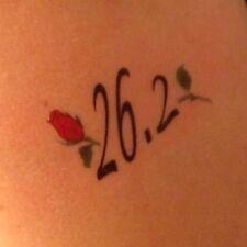26.2 marathon Rose tattoo temporary - single sheet running runner Tat