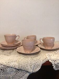 12 J & G Meakin Rosa Pieces 4 Cups 5 Saucers And 3 Side Plates