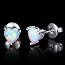 Women's Mini Silver White Fire Opal Heart Shaped Earrings Color Stud Jewelry
