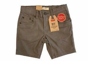 Levi's 511 Slim Little Boys' Dark Gull Gray Sueded Shorts, Sz 5 Reg