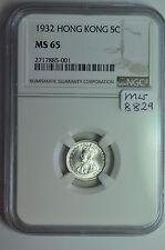 mw8829 Hong Kong; Silver 5 Cents 1932  NGC MS65