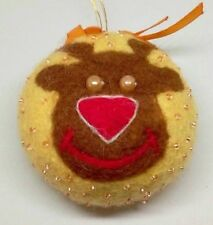Felted Christmas Wool Yellow Rednose Deer Ball with  Beads OOAK