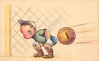 Cartolina - Postcard - Illustrata - Calcio - bambino - portiere - palla
