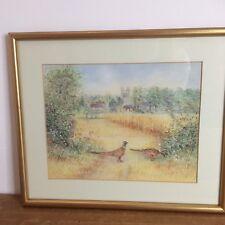Original Art Picture Pastel Framed Country Rural Pheasants Church Birds 27x32 cm