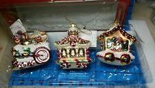 Fitz & Floyd Candy Lane Train Christmas Ornament Gingerbread Figurine Set Mib
