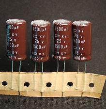 4pcs-- 1500uf 25v Radial Electrolytic Capacitor 25v1500uf  NCC KY Low ESR JAPAN