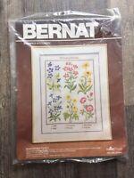 Vintage Bernat Embroidery Stamped Stitchery Kit Botanical Wild Flowers No S03040