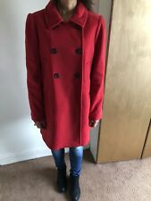 Whistles Red Winter Coat 100% Wool Size 14