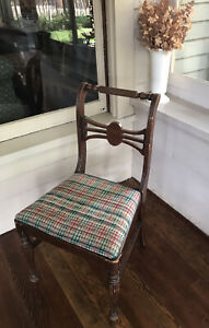 Antique Vintage CHIPPENDALE STYLE CARVED DINING Room CHAIR Upholtered Seat