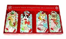 Molly Rex 12 Glittered 3-D Christmas Gift Tags Puppy Stocking 14214 Punch Studio