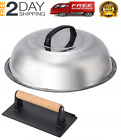 NEW  Stainless Steel 12 Inch Basting Cover and Cast Iron Grill Press Kit