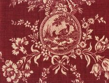 "Waverly ""Country House Toile"" 100% linen fabric by the yard color burgundy red"