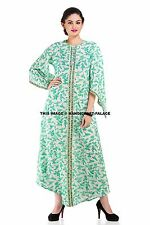 Women Bird Floral Hand Block Print Short Sleeve Cotton Long Dresses Indian