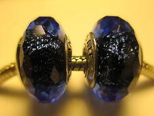 Set 2 Authentic Pandora Silver 925 Ale Blue Fascinating Iridenscence Bead Charm