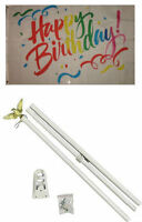 3x5 Happy Birthday Rainbow Ribbons Flag White Pole Kit Set 3'x5'