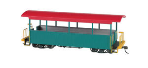 Bachmann On30 Scale Spectrum Open Excursion Car Green W/Red Roof 26001