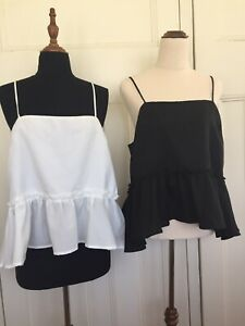 Two x  Diish Size 14 'Feeling For You' Babydoll Cami Black BNWT + White