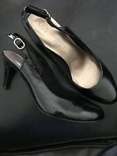 Black Patent Slingback M&S Shoes New Size 5 Wider Fit