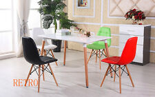Rectangular Dining table and 4 leather chairs retro DSW DSR Eiffel