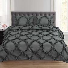 Tatiana Ruched Fancy Ribbed Lattice 3 Piece Duvet and Pillow Sham Set