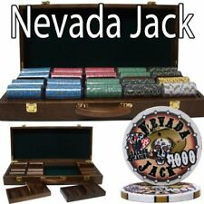 500ct. Nevada Jack Ceramic 10g Poker Chip Set in Walnut Wood Carry Case