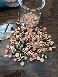 Bingo LOT Vintage Antique ROUND WOODEN Wood Game Tile RED NUMBER Letter Craft