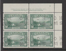 """Canada 1939 oppure PERF. """"o.h.m.s."""" in blocco PIASTRA SG o129 MNH."""