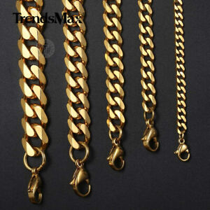 """16""""-30"""" Stainless Steel Chain Mens Necklace Gold Plated Curb Cuban 3/5/7/9/11mm"""