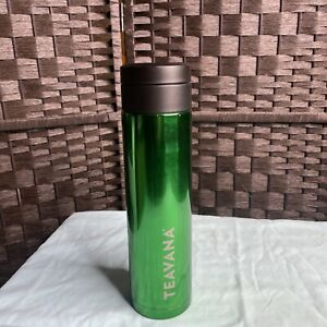 Teavana Tumbler New16 oz Shiny Green W/ infuser basket & outside imperfections
