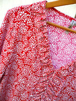 MADE IN USA SUSAN LAWRENCE SZ L M RUFFLED RUCHED RED BLOUSE STRETCH FLORAL WOMEN