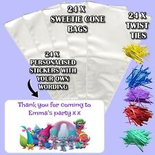 24 Personalised Trolls Birthday Do It Yourself Sweet Cone Party Bags - D1