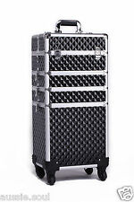 4 in 1 Portable Makeup Cosmetic Beauty Trolley Case, Hairdresser - BLACK DIAMOND