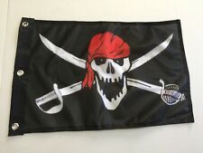 """Crimson Pirate Flag Skull and Swords 12"""" x 18"""" Foot Mutiny Outdoor Car Boat31"""