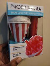 1 Box Nostalgia Snow Cone Cups And Spoon Straws