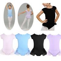 Kids Girls Ballet Dress Dance Wear Gymnastics Bodysuit Leotard Unitard Costumes