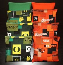 Cornhole Beanbags made w Oregon Beavers Oregon Ducks Fabric 4 Bags of each Team