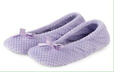 TOTES ISOTONER Lilac Ballet Pump Slippers Popcorn Terry Towel Slip On SMALL 3-4