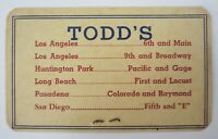 Vintage Todd's Department Store Credit Card Downtown Los Angeles Pasadena 1950's