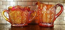 Indiana Carnival Glass Heirloom Red Sunset Large Cream & Sugar
