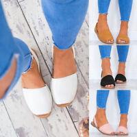 Women Sandals Flat Espadrilles Summer Gladiator Peep Toe Slip On Shoes Plus Size