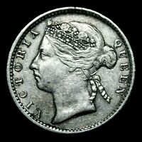 1895 Straits Settlements 10 Cents Silver Queen Victoria A43-128