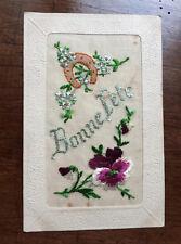 CPA Ancienne Carte Postale tissu brodé fleur pensée et fer cheval 1900 BonneFête