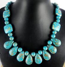 Natural SEDIMENT JASPER&Turquoise Handmade Gemstone Jewellery Necklace  HN1
