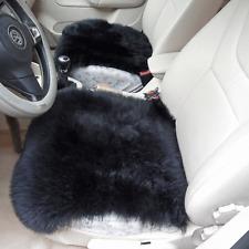 "Sheepskin Car Seat Covers Genuine Long Wool Chair cushion 18''×18"" BLACK X1"