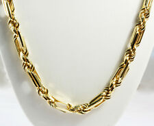 """169.70 Gm 14K Yellow Solid Gold Men's Figarope Milano Chain Necklace 24"""" 10 mm"""