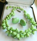 VINTAGE GREEN ART GLASS HAND WIRED NECKLACE SIGNED GERMANY EARRINGS