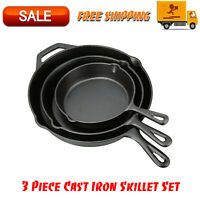 3 Piece Cast Iron Skillet Set, Kitchen Home & Outdoors, Camping Cookware