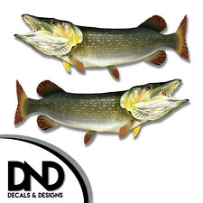 """Pike - Fish Decal Fishing Hunting Tackle Box Bumper Sticker """"3in SET"""" F-0470 D&"""