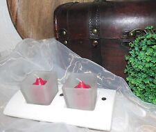 Partylite Kerzenhalter Bianco Set Bisquitporzellan mit 2 Votivkerzenhalter P7723